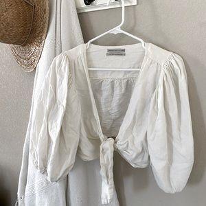 Urban Ourfitters linen blend crop blouse